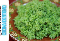 Cómo cocinar el arroz verde. Receta mexicana fácil y exquisita.