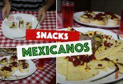 3 snacks o aperitivos para fiestas al estilo mexicano: Mini Molletes, Mini Burritos y Nachos.