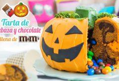 """Receta de tarta de calabaza y chocolate con M&Ms / Postres para Halloween"""""""