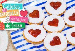 Galletas de mantequilla con corazón de fresa