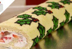 Técnica Christmas Deco-Roll para decorar un rollo dulce navideño